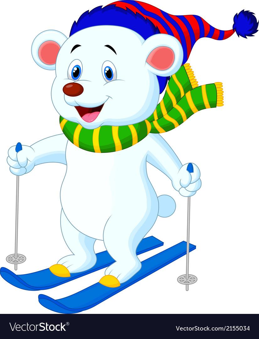Polar bear cartoon skiing vector