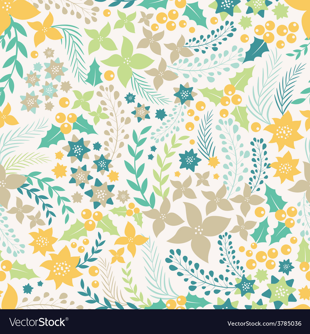 Flower seamless pattern with cute elements vector