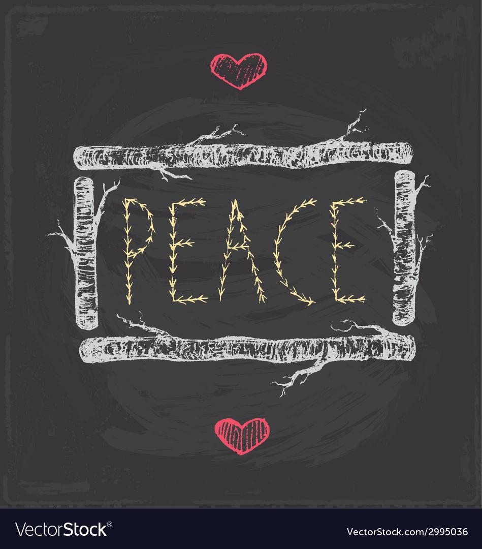 Vintage christmas peace chalkboard hand drawn set vector