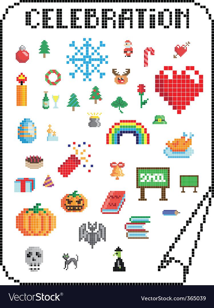 Pixel celebrations vector