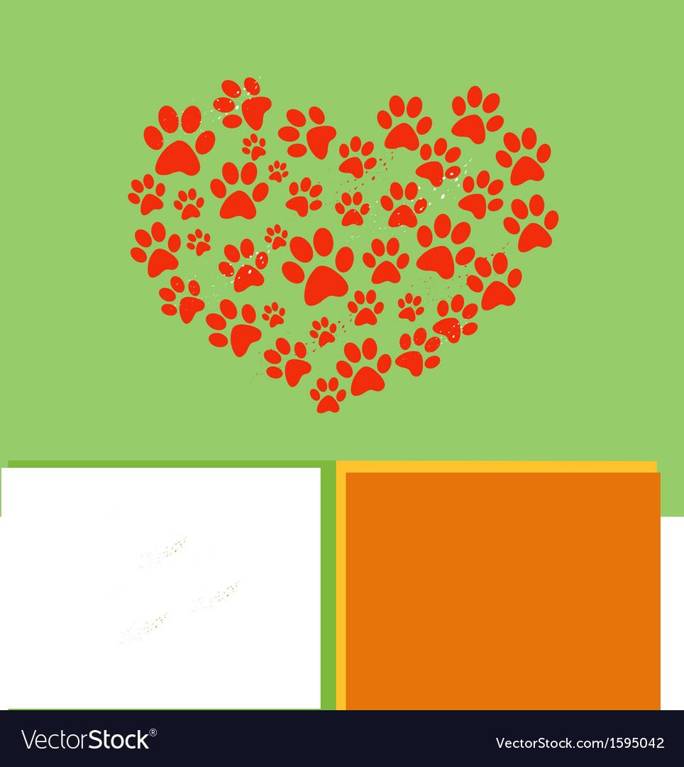 Heart paw vector