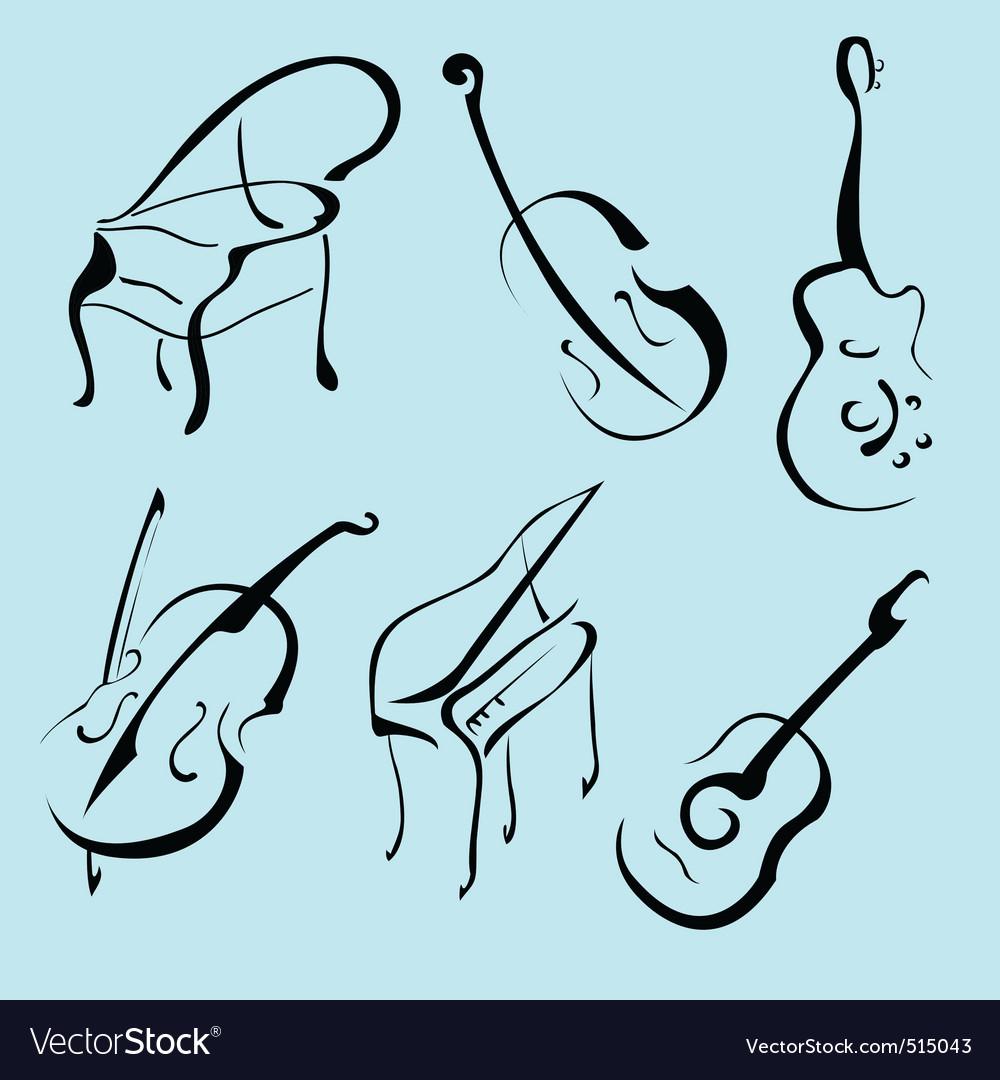 Music instruments design set vector
