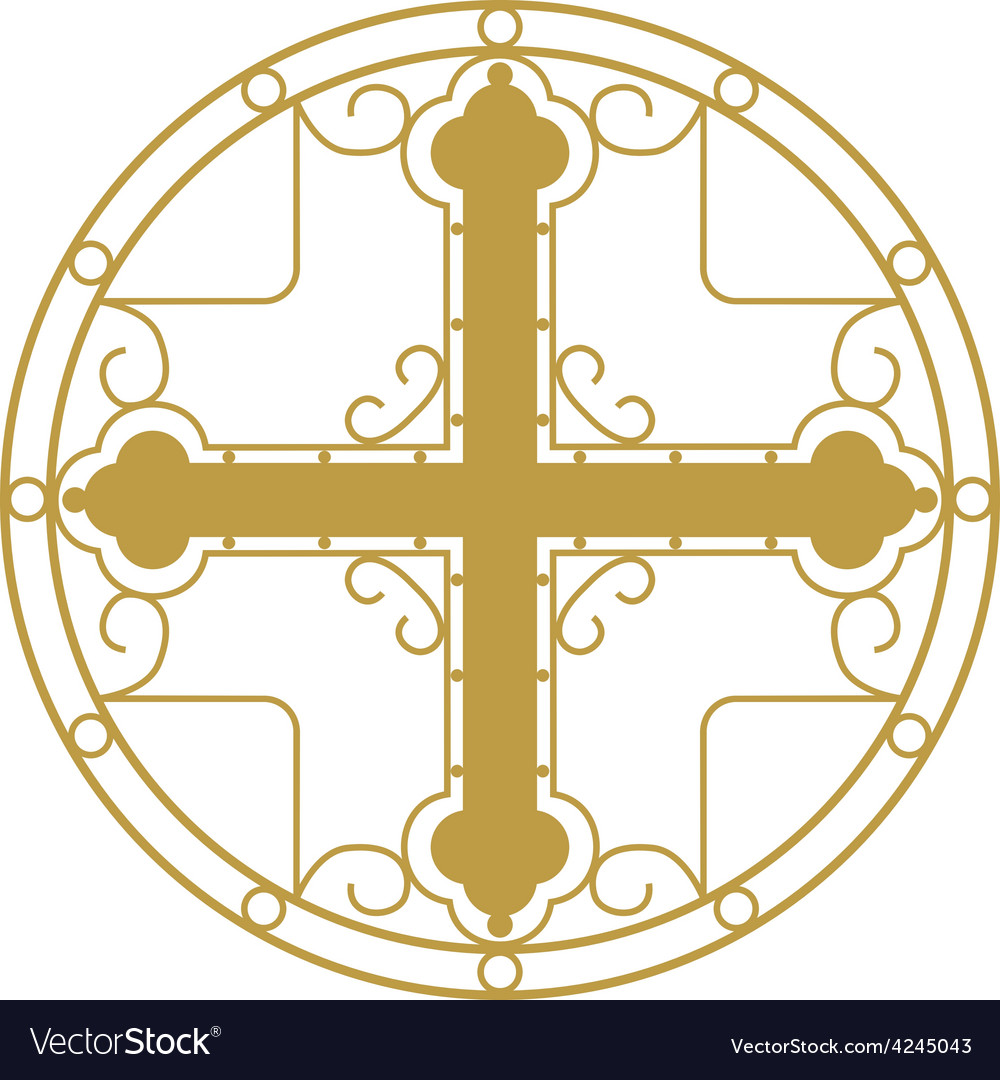 Ornamented golden christian holy cross vector