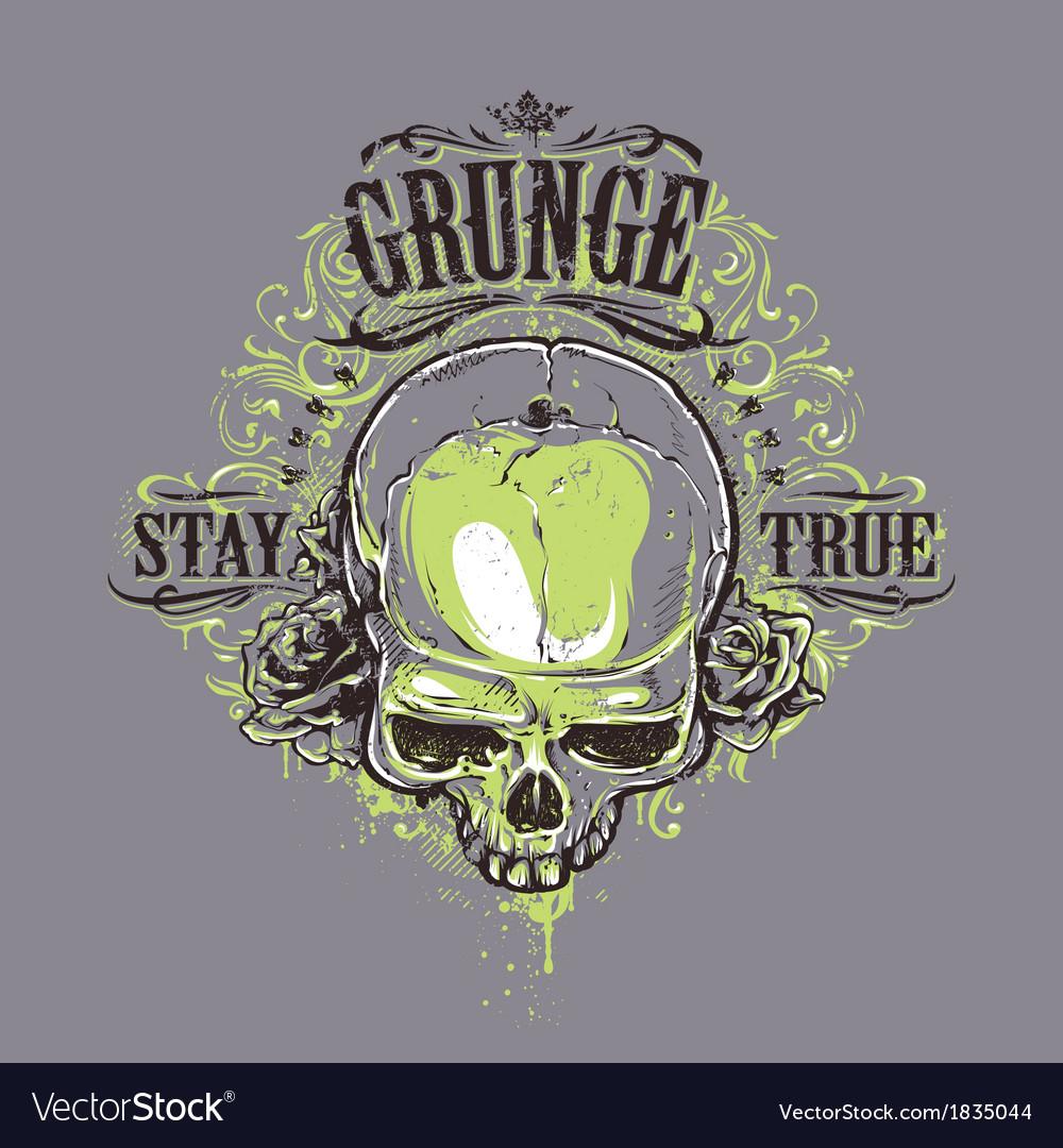 Grunge skull print 2 vector