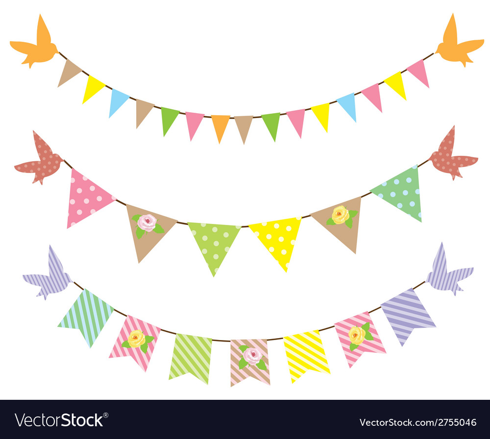 Bunting roses vector
