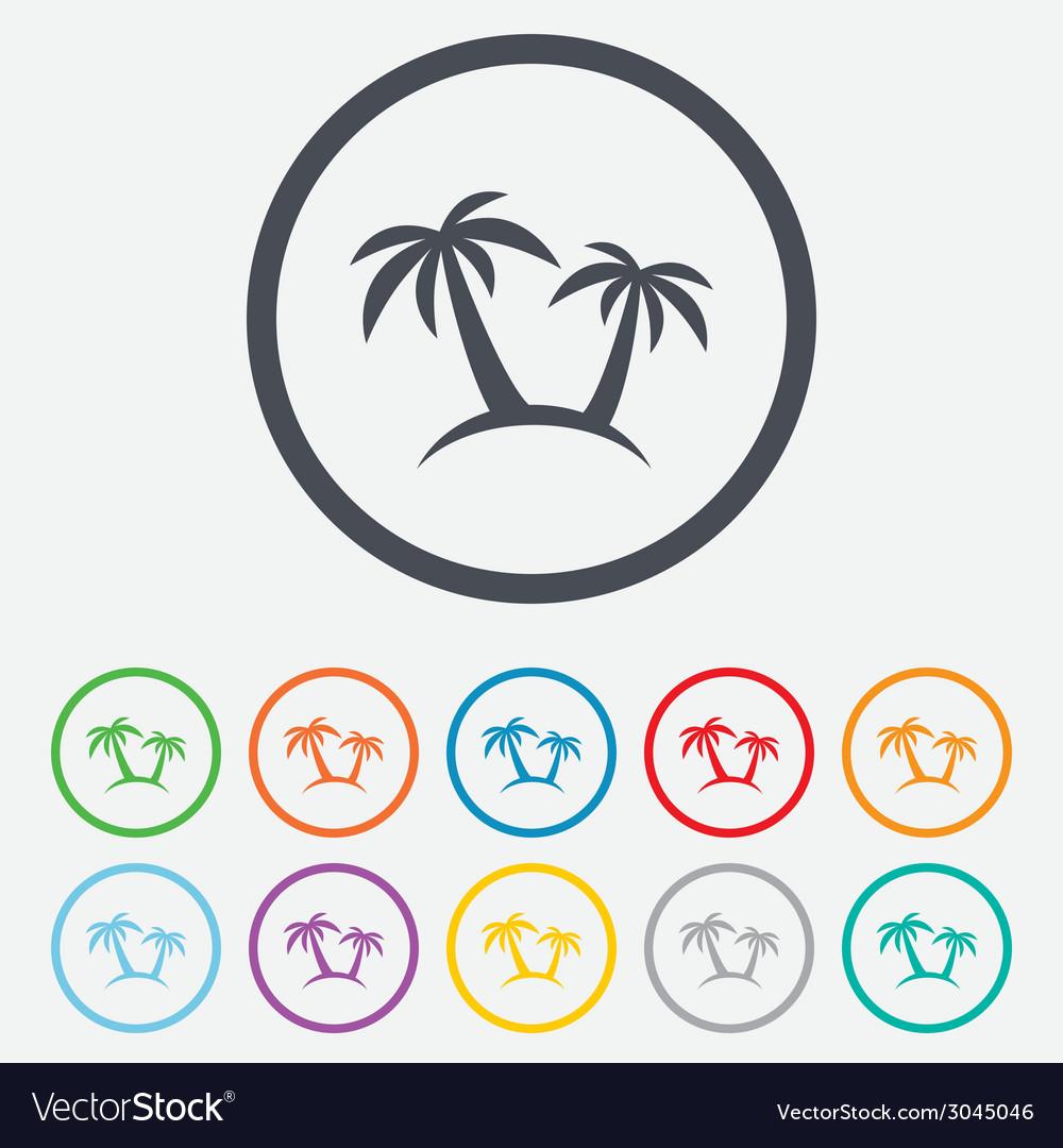 Palm tree sign icon travel trip symbol vector