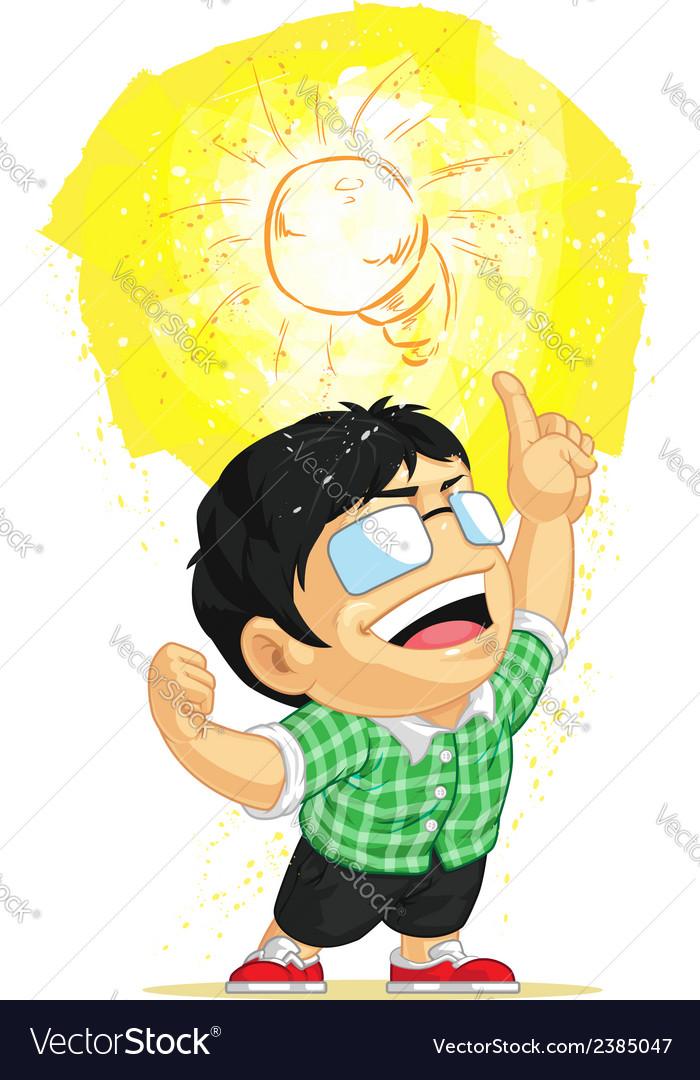 Kid having a shining light bulb idea vector
