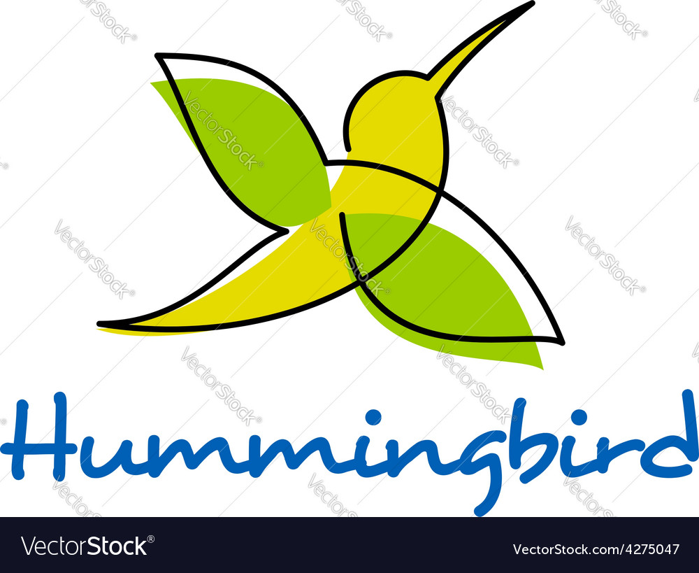 Unusual silhouette of flying hummingbird vector