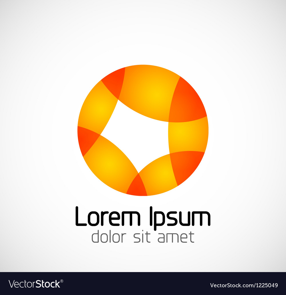 Abstract geometric business symbol - orange circle vector