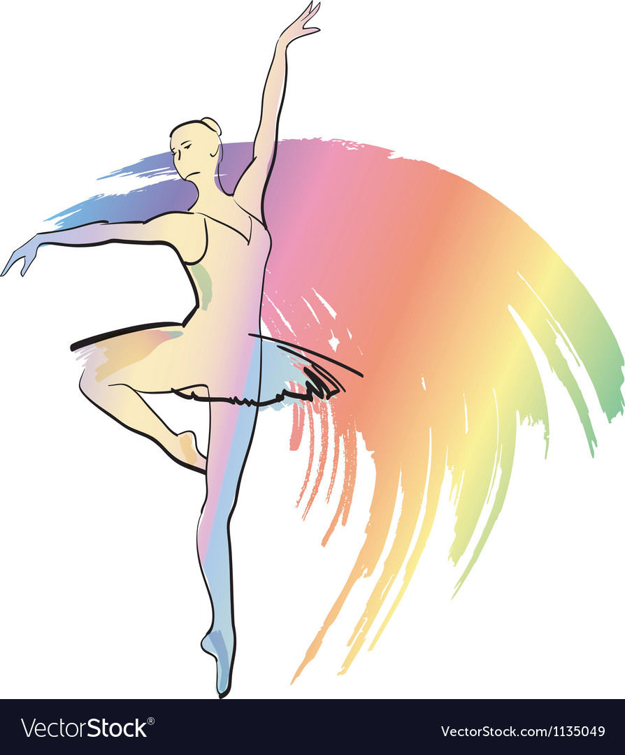 The woman dances ballerina vector