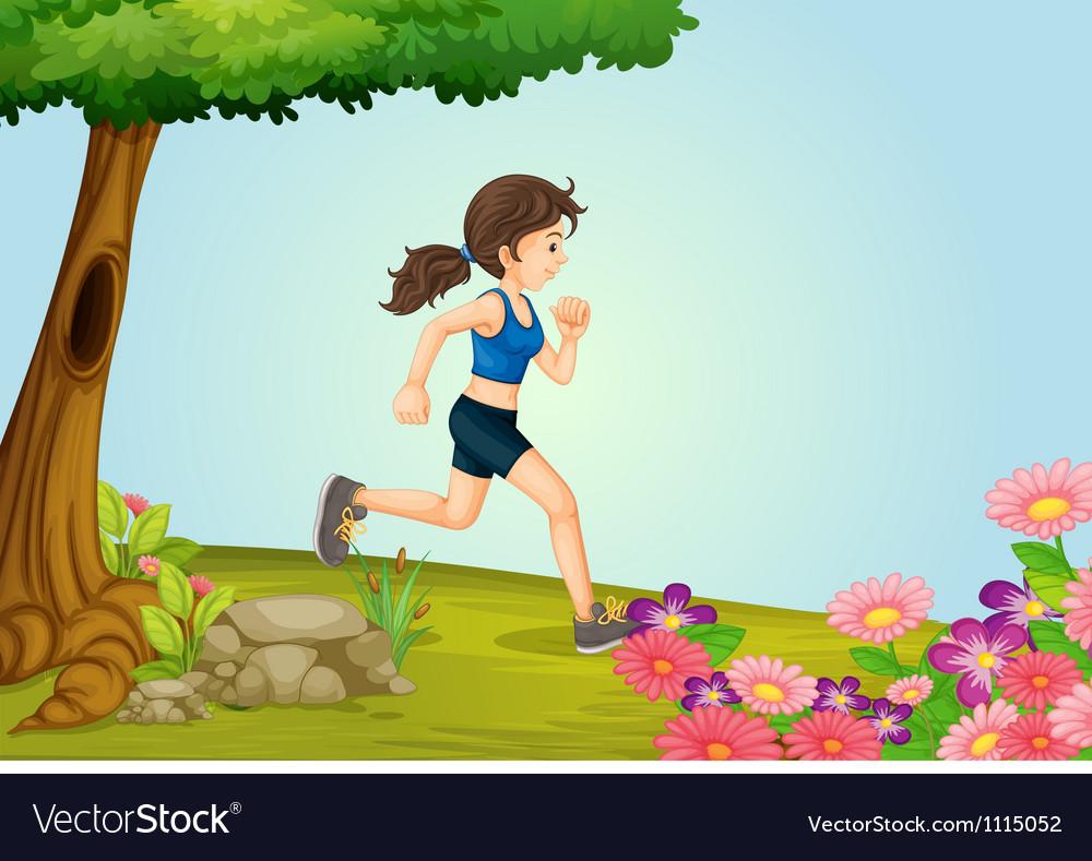 A girl running vector
