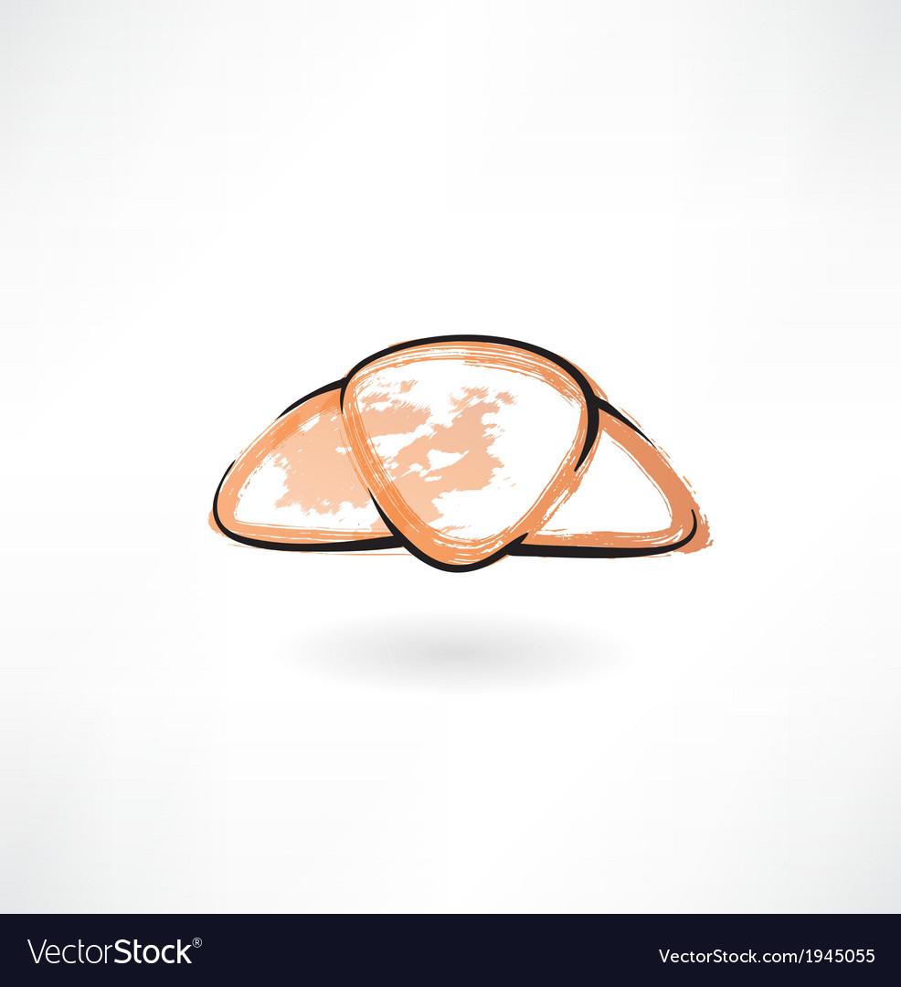 Croissant grunge icon vector