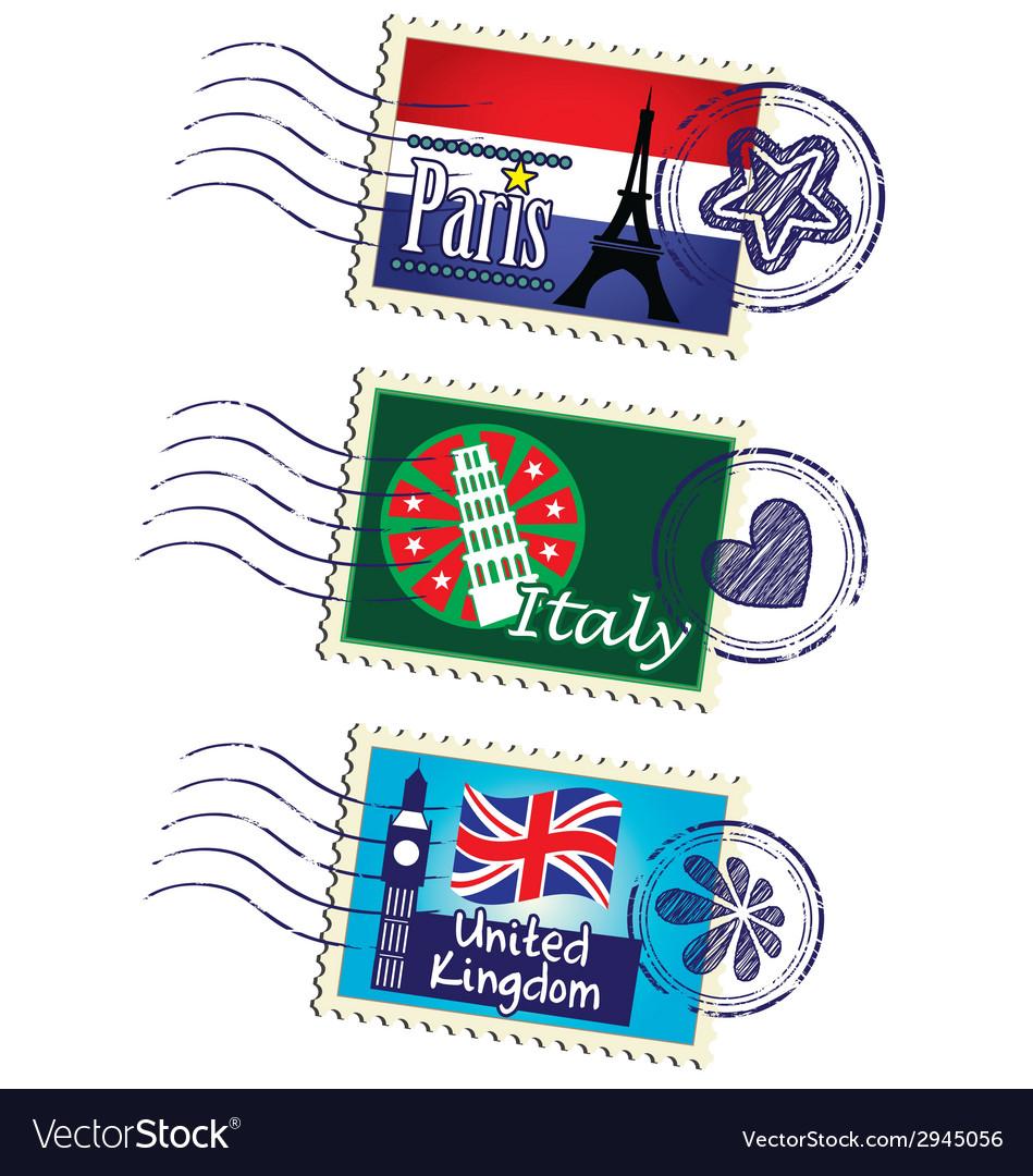 Stamp set vector