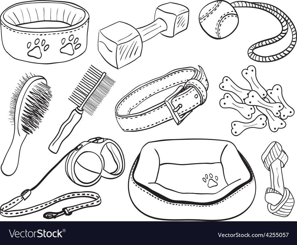 Dog accessories - pet equipment hand-drawn vector