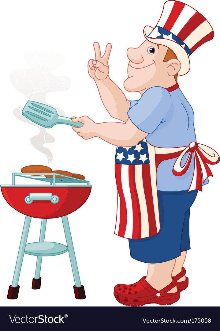 Man cooking hamburger vector