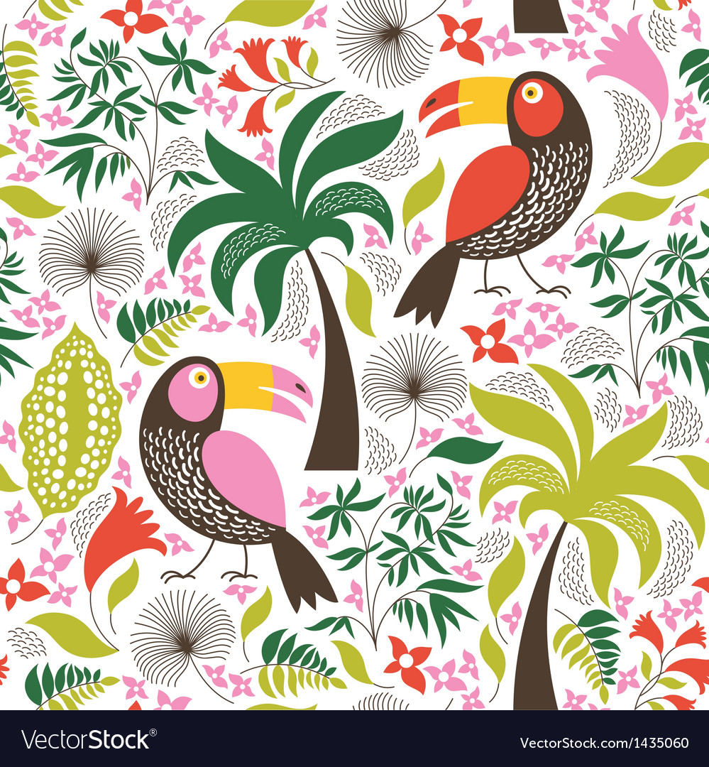 Seamless pattern with a exotic birds vector