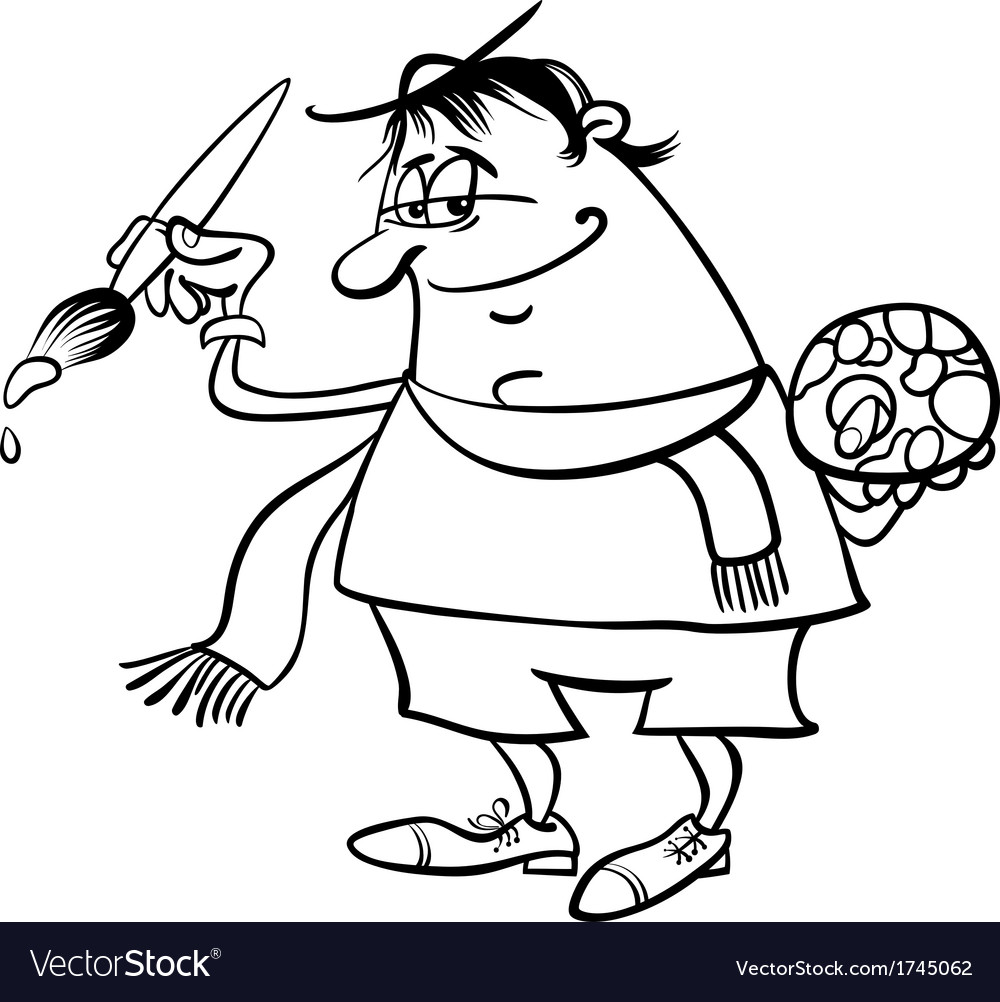 Painter artist cartoon coloring page vector