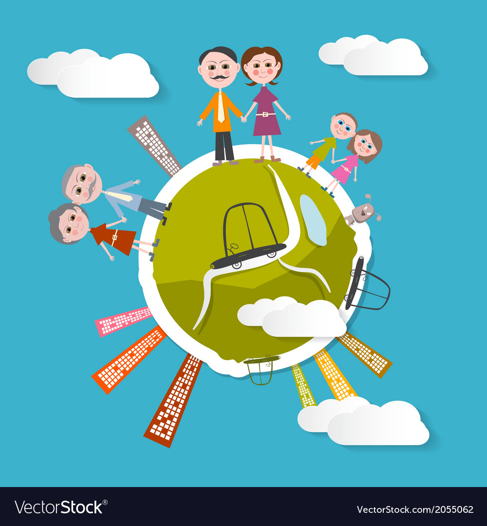 People on green globe with blue sky backgrou vector