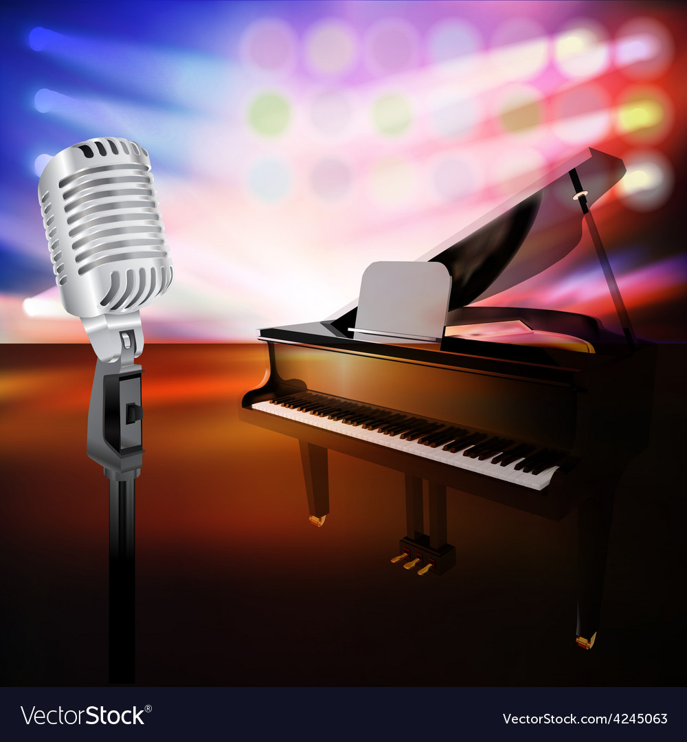 Abstract jazz background with piano and retro vector