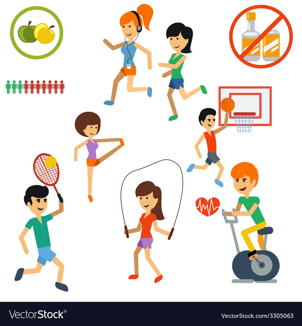 Icon set for active lifestyle sport nutrition vector