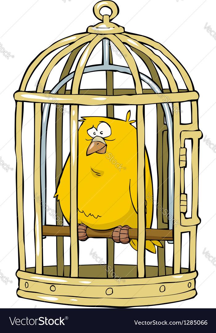 Birdcage with a canary vector