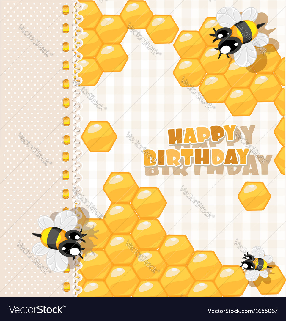 So sweet birthday card vector