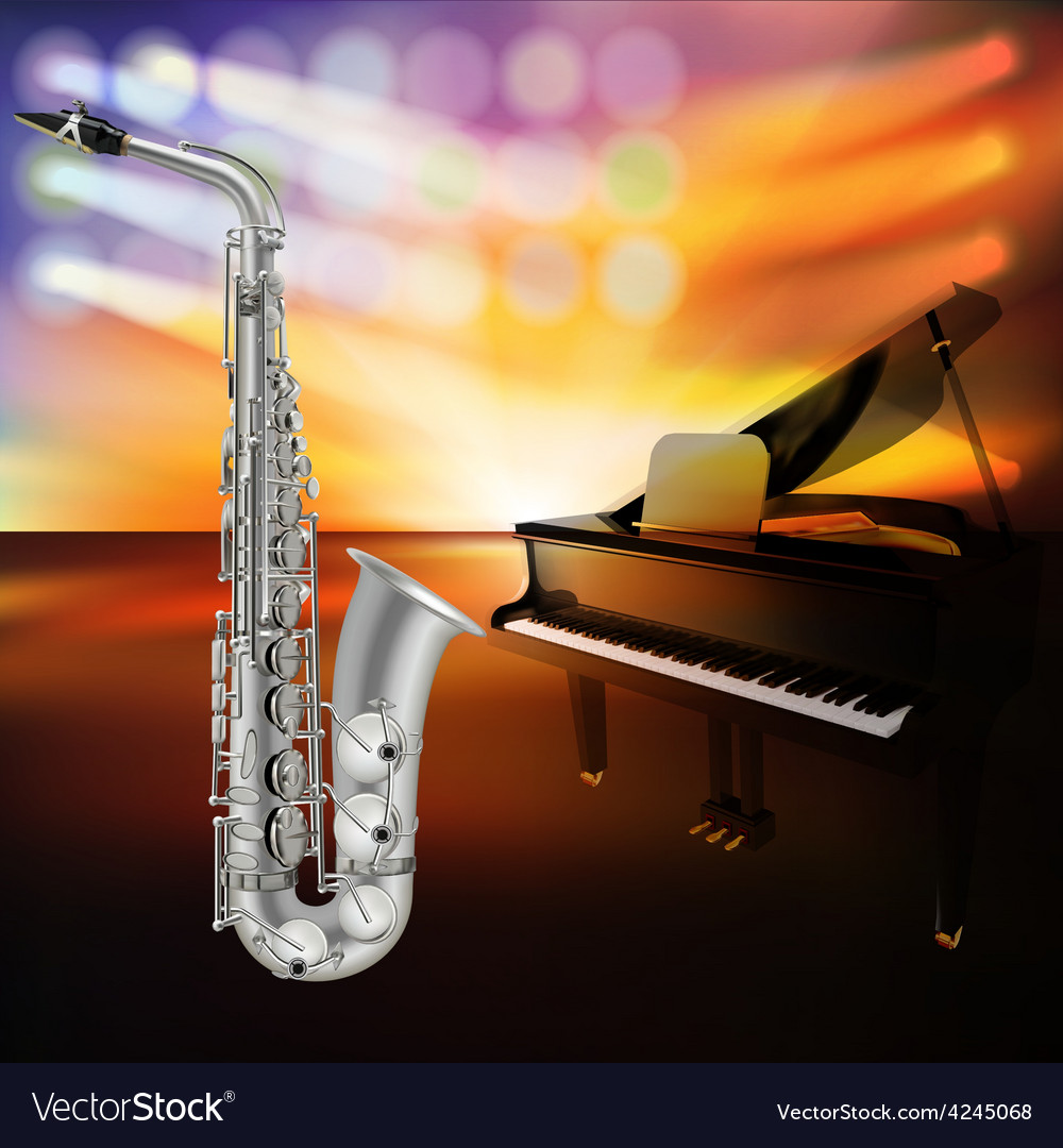 Abstract jazz background with saxophone and grand vector