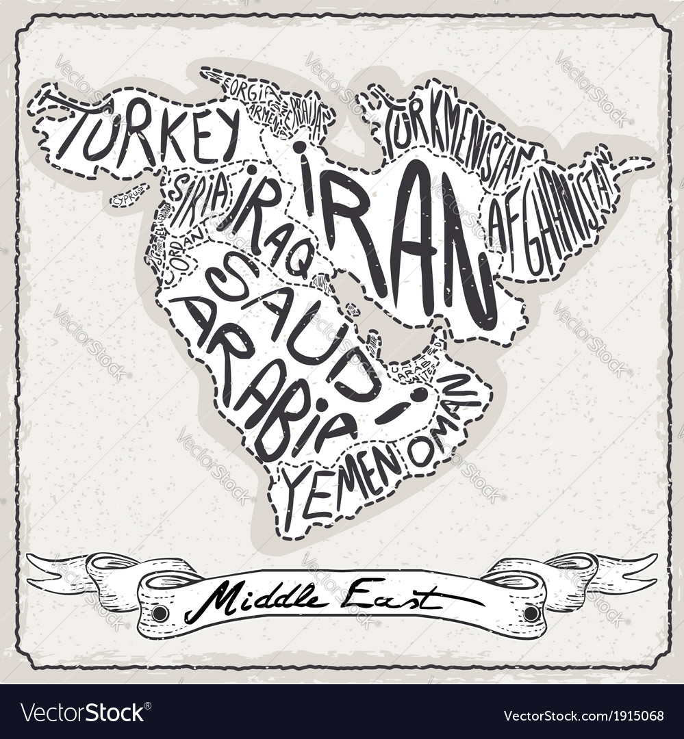 Middle east map on vintage handwriting page vector