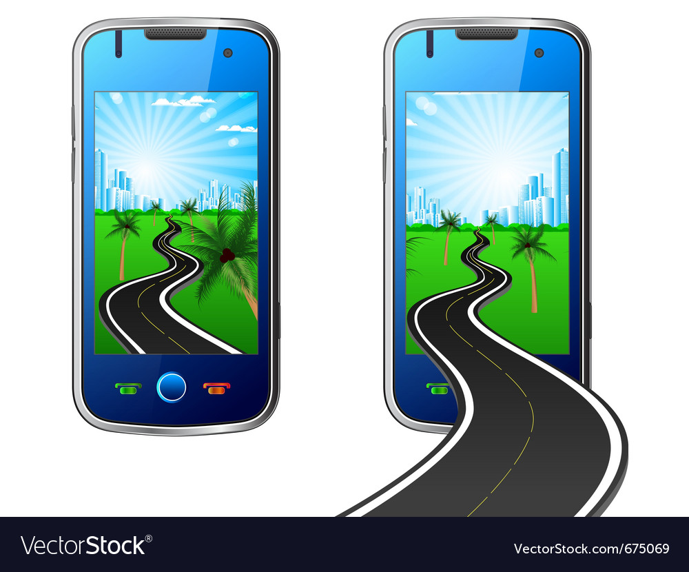 Road in mobile phone vector