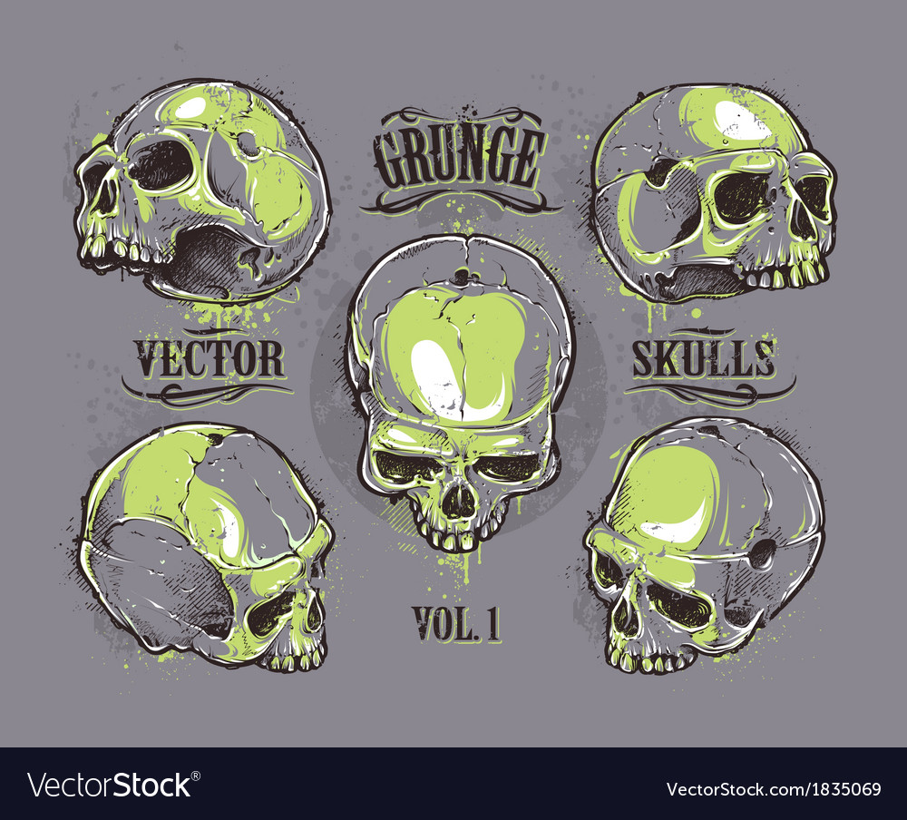 Skulls hand drawn set 2 vector