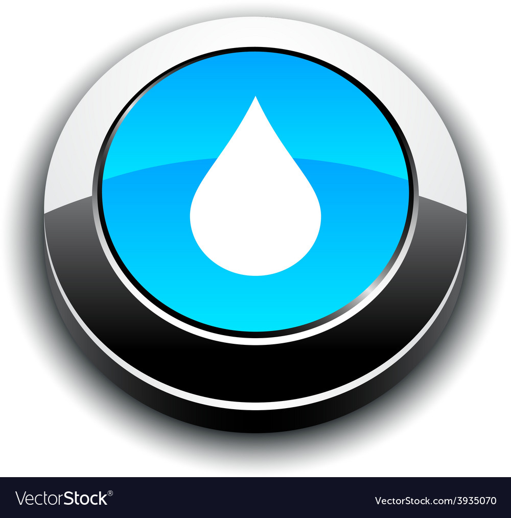 Rain 3d round button vector