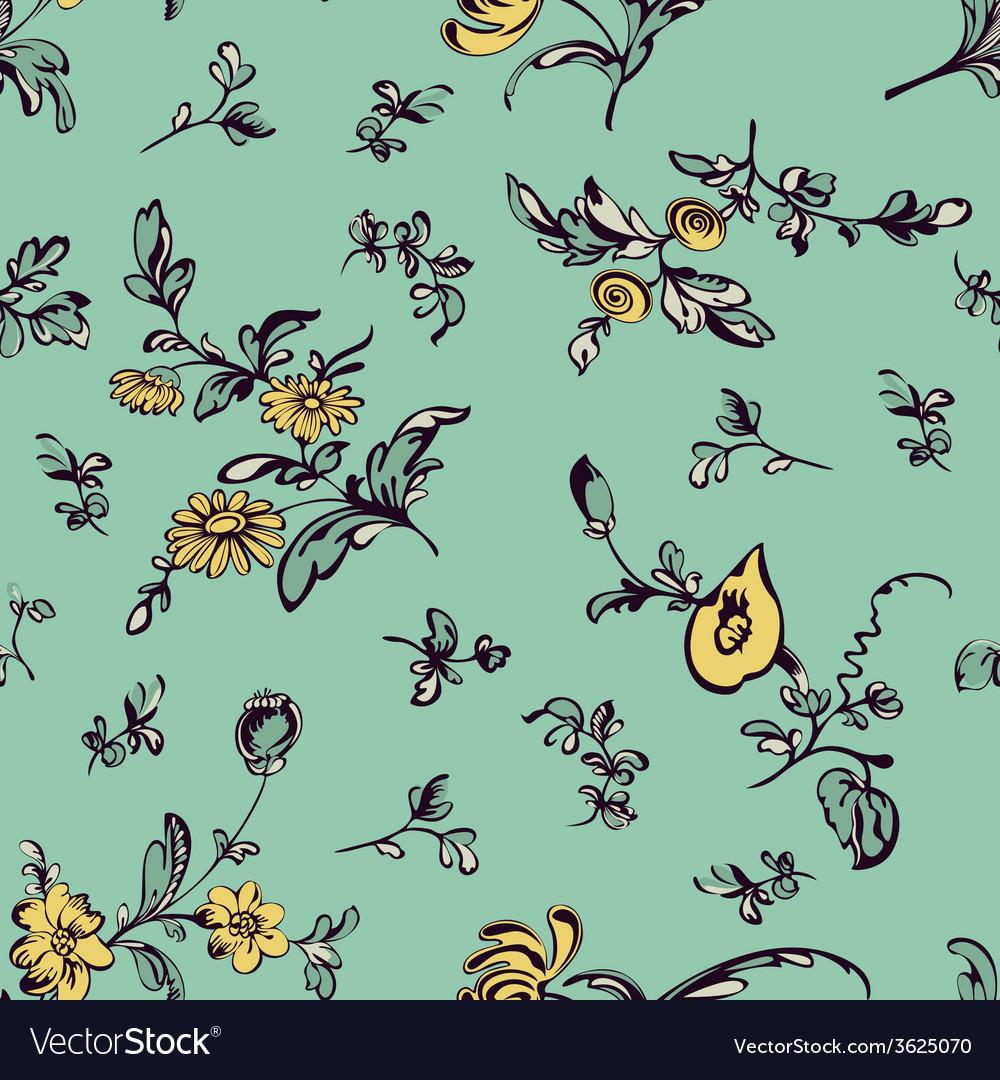 Seamless pattern flower green background vector