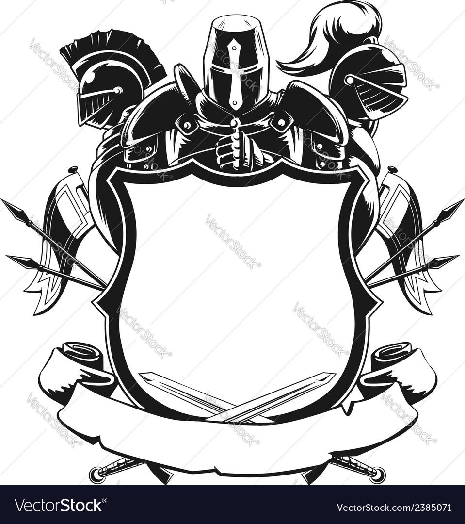 Knight shield silhouette ornament vector