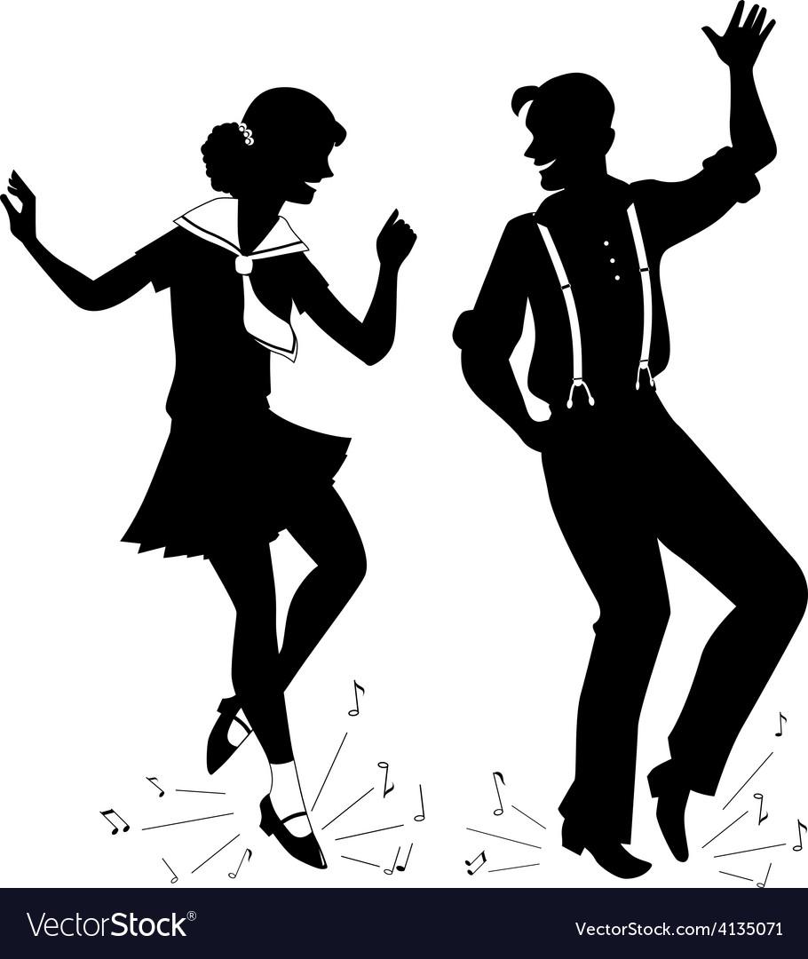 Tap dancing silhouette vector