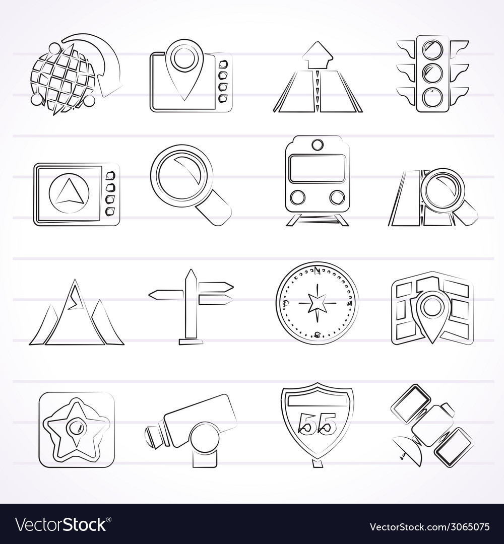 Navigation and location icons vector