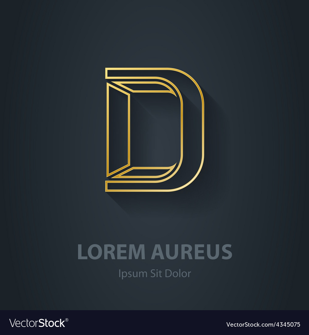 Outline letter d elegant gold font template for vector