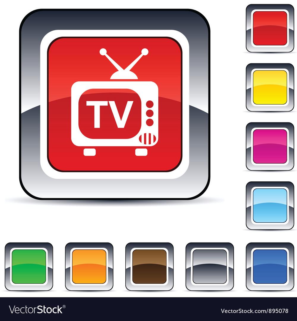 Tv square button vector