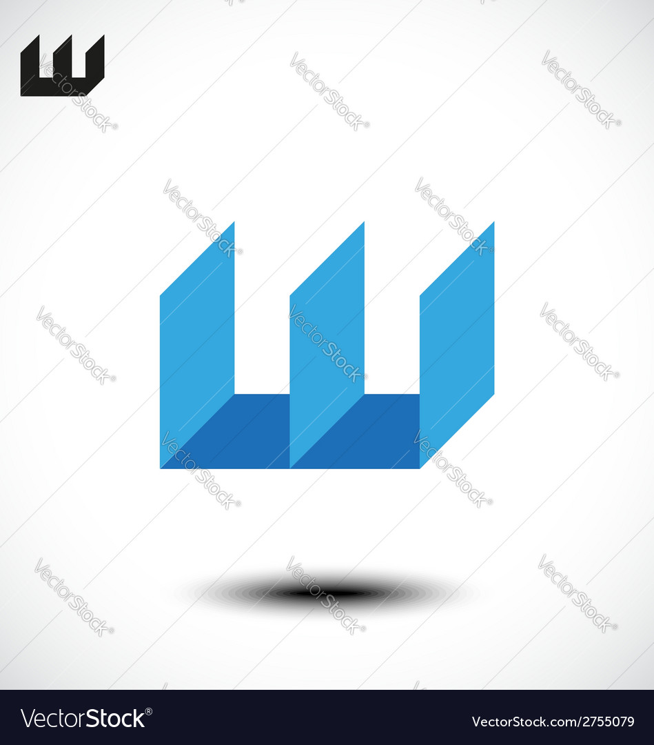 Abstract letter w icon vector