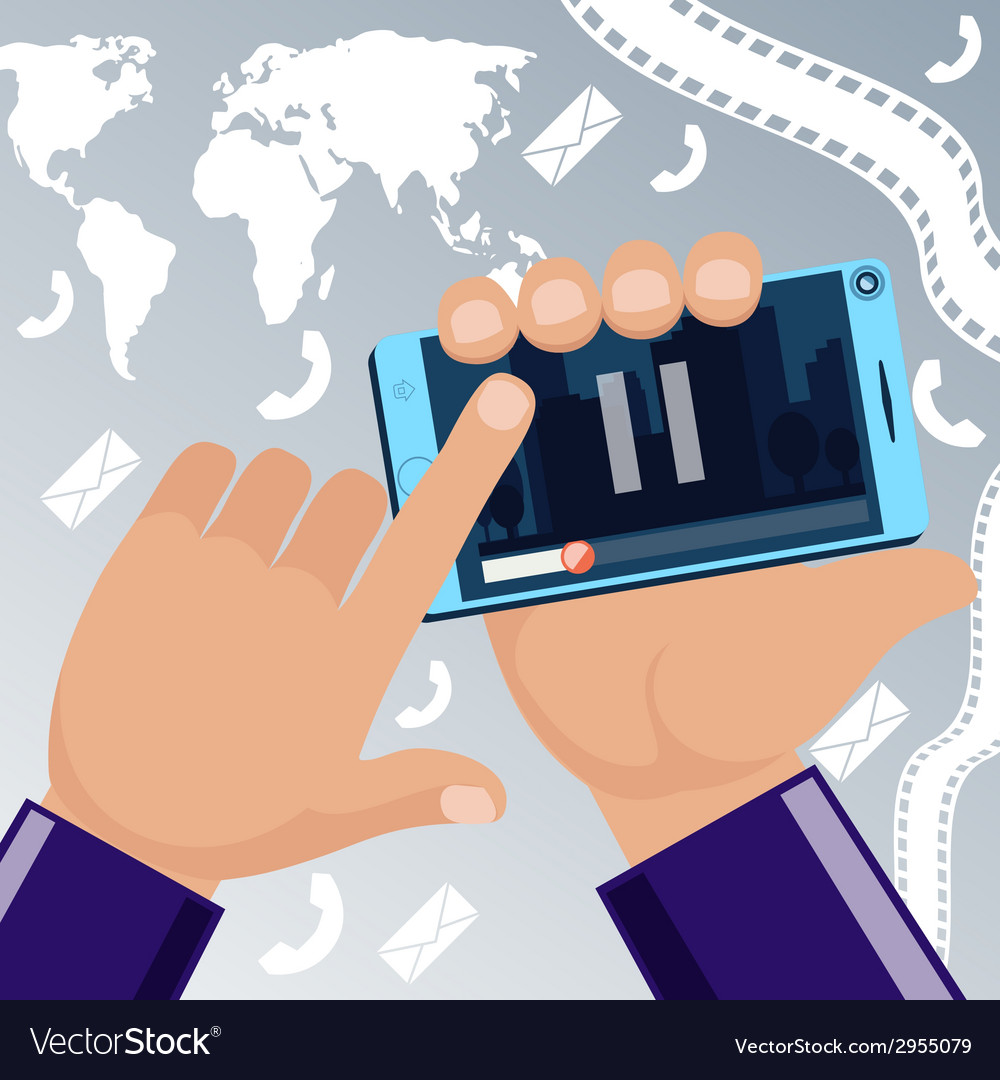 Man holding smartphone in hand and watching movie vector