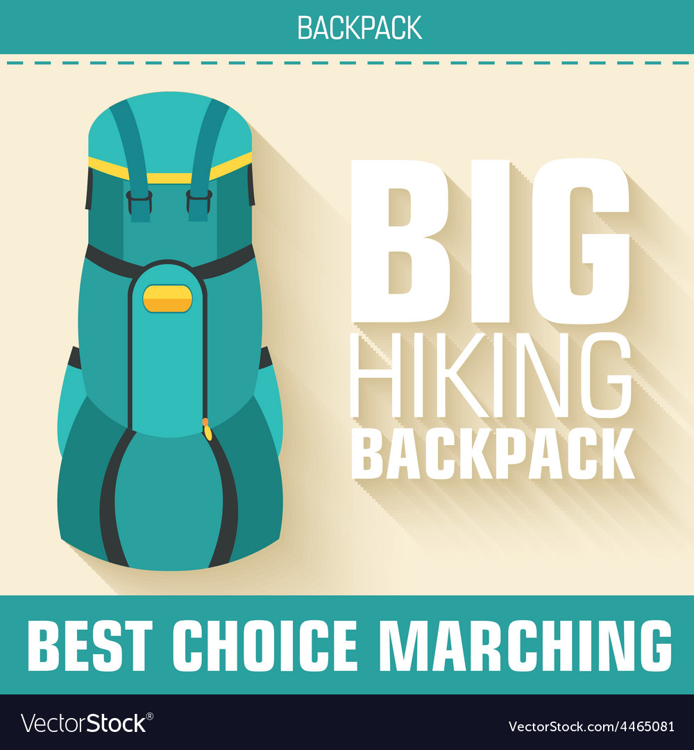 Flat colorful tourist backpack equipment vector