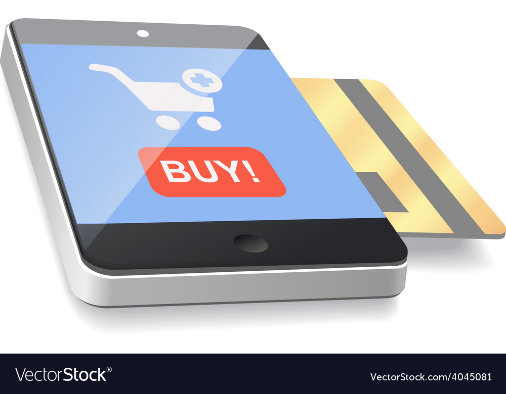 Modern mobile smartphone with credit card vector