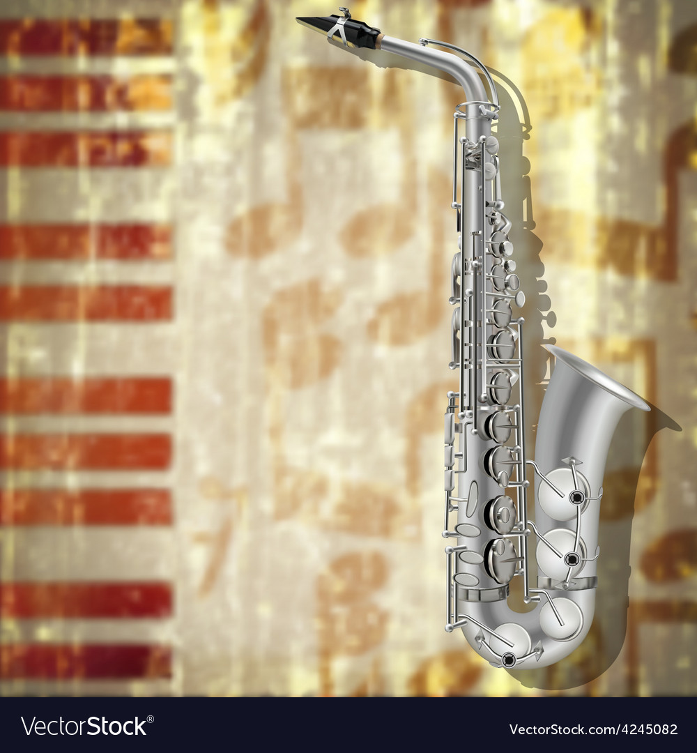 Abstract jazz music grunge background with silver vector
