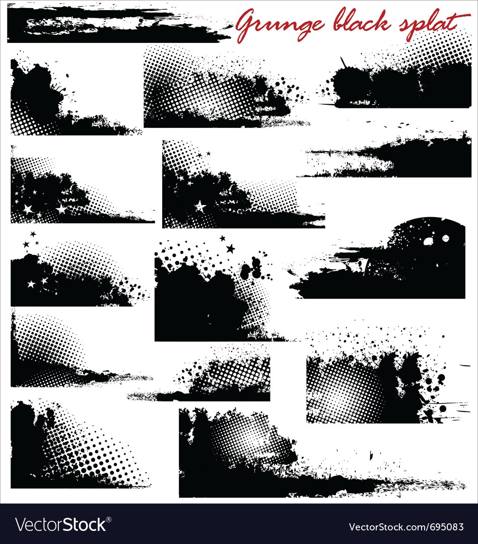 Grunge black splat - set vector