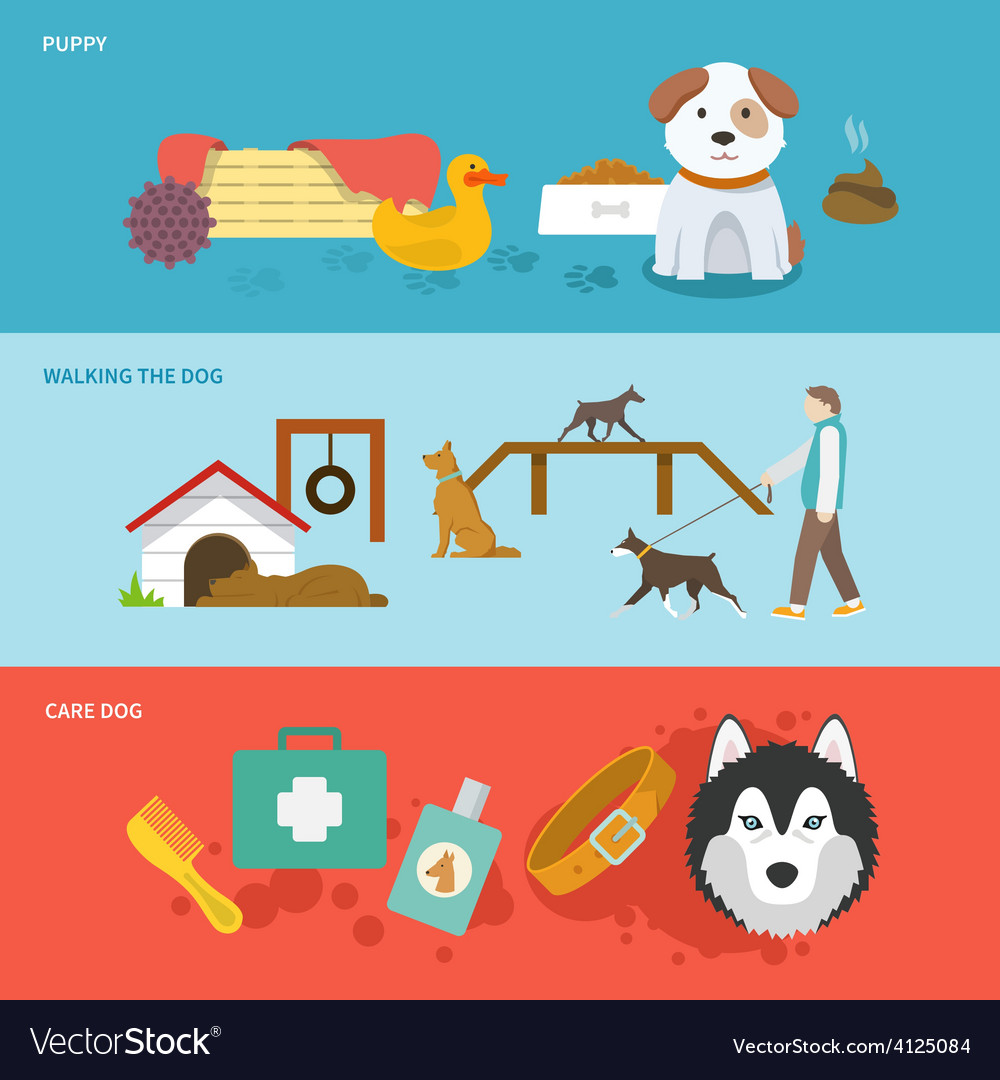 Dog banner set vector