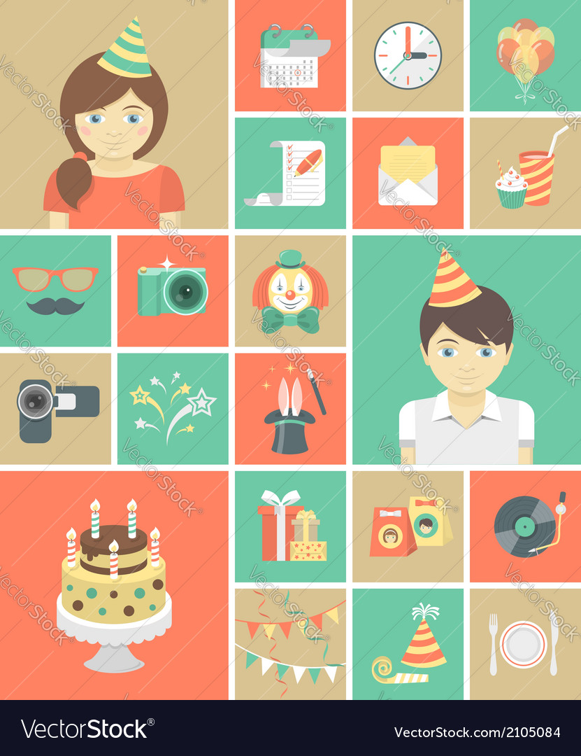 Kids birthday party icons vector
