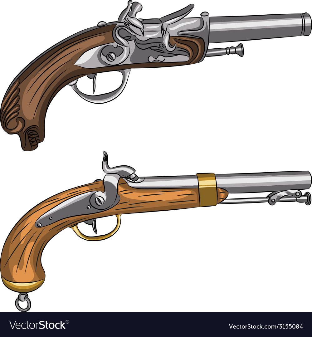 Vintage pistols vector