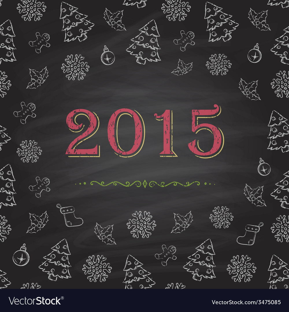 Christmas or new year chalkboard design vector