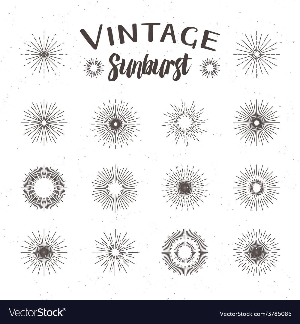 Vintage sunburst hipster style vector