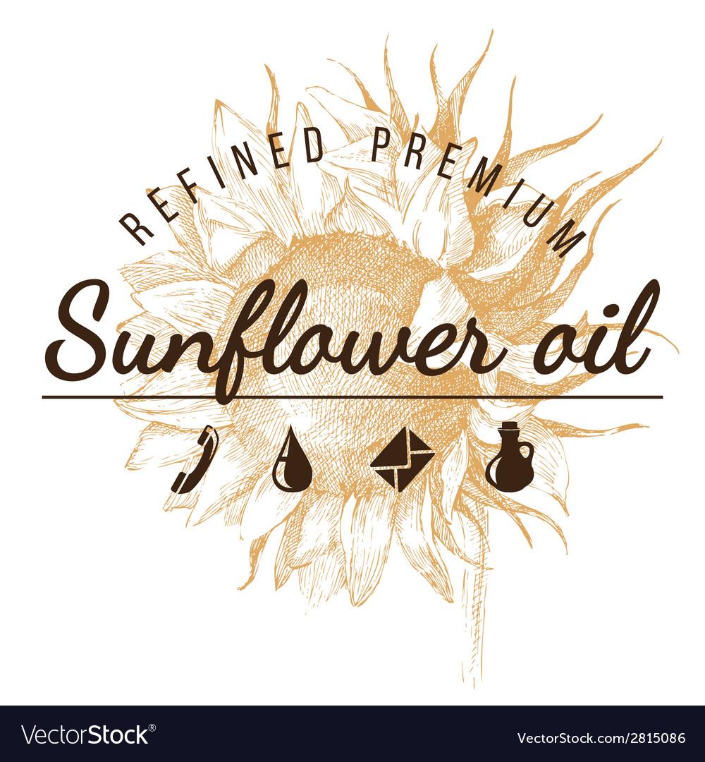 Oil emblem over sunflower sketch vector