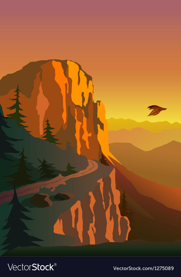 Mountain and sunset vector